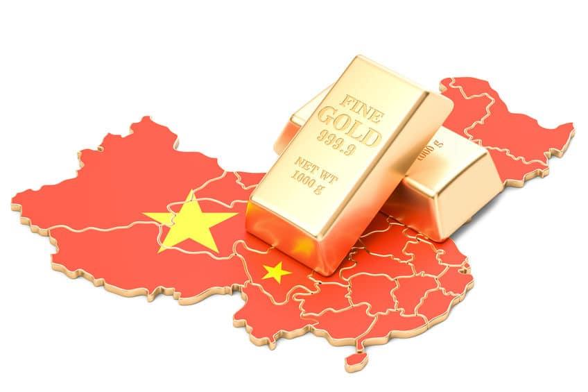 Mapa de china con lingotes de oro