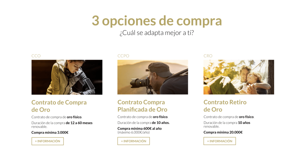 3 opciones compra de Oro - SEMPI Gold España