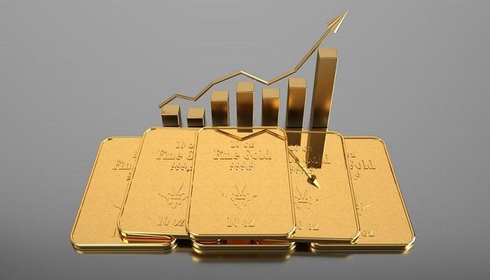 Aumento record del precio del oro en la bolsa. Ilustración 3D.