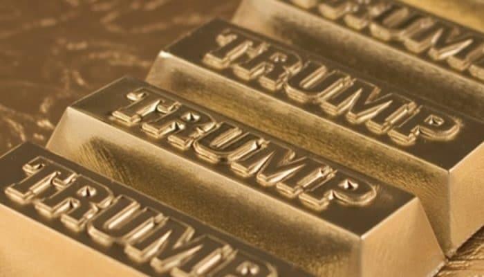Lingotes de oro con el sello de Trump