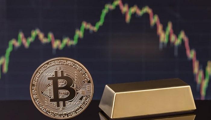 Cotización del oro y del bitcoin
